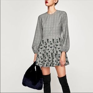 Zara Checkered Embroidered Dress